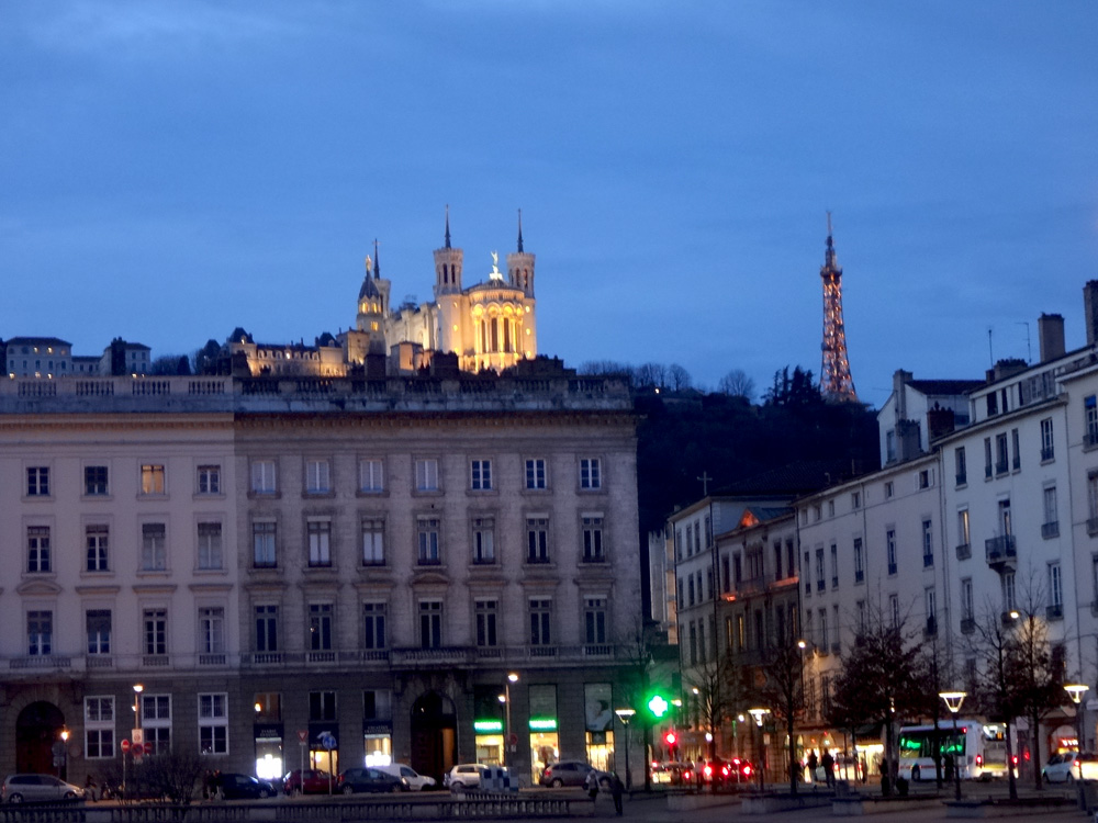 fourvière basilica lyon france seen from bellecour square at Lyon France