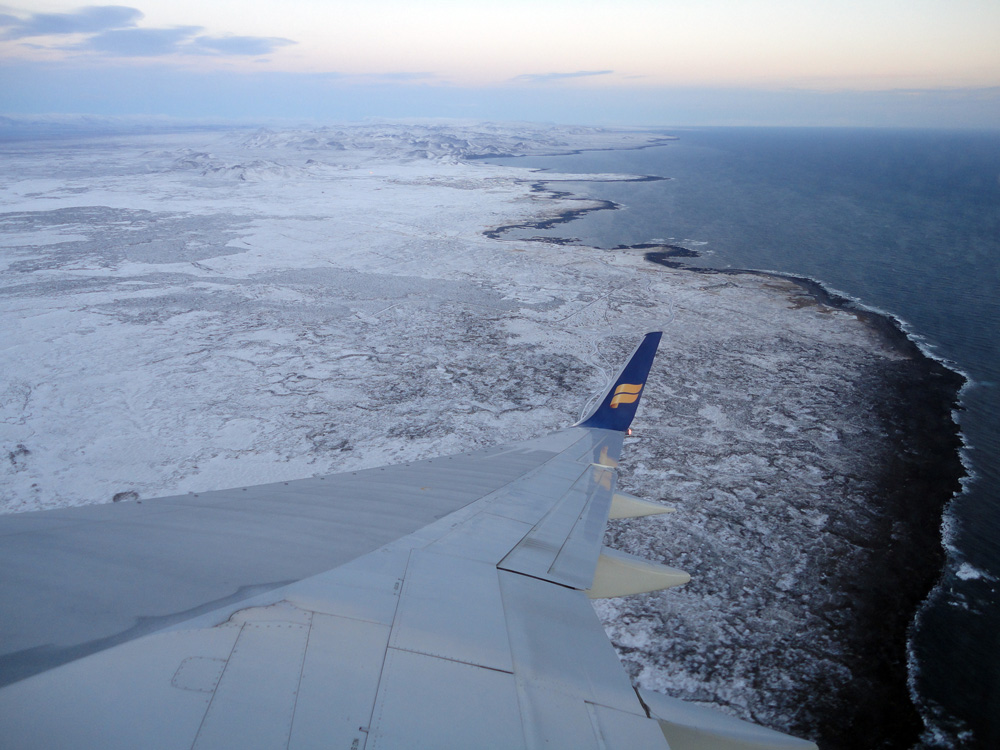 icelandair flying over iceland