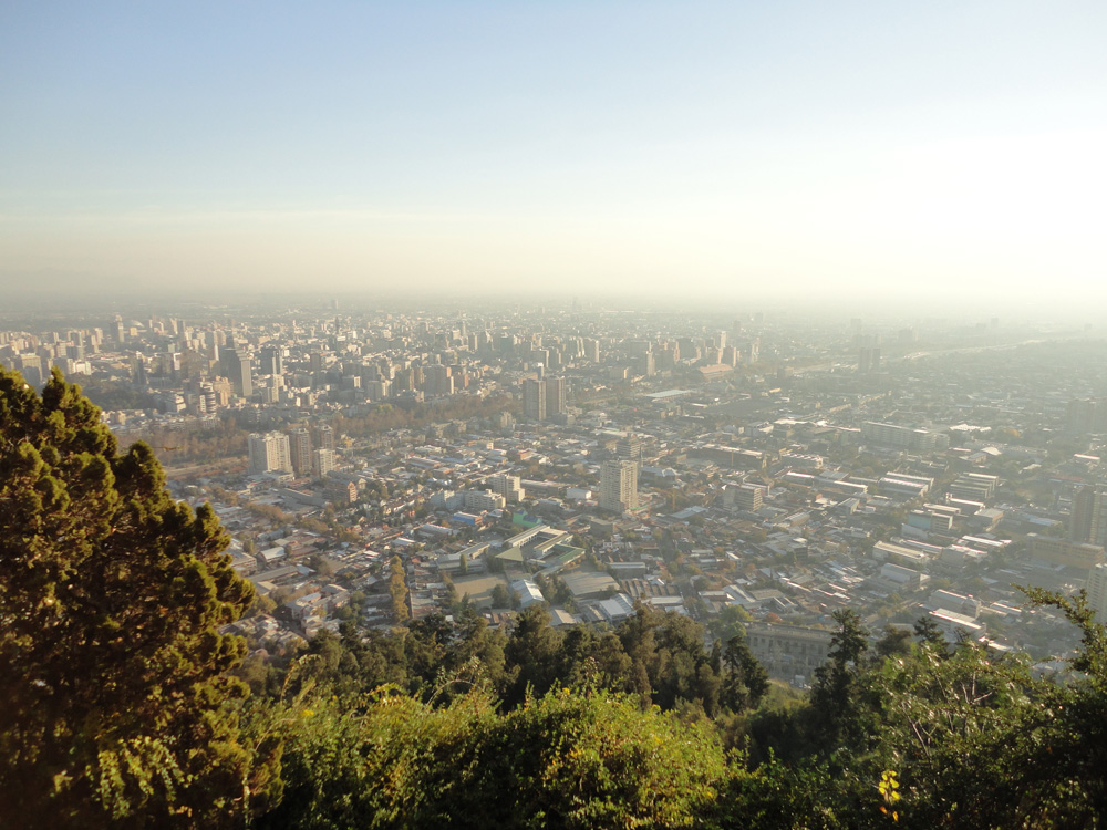 This is the view of Santiago de Chile from the top of the Mt. San Cristobal. A bit poluted, but beyond the smog you can see how big Santiago is.